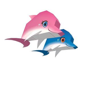 image regarding Printable Dolphin Pictures called Dolphin Duo Printable Paper Craft