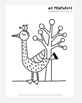 Tall Bird and a Tree Coloring Page