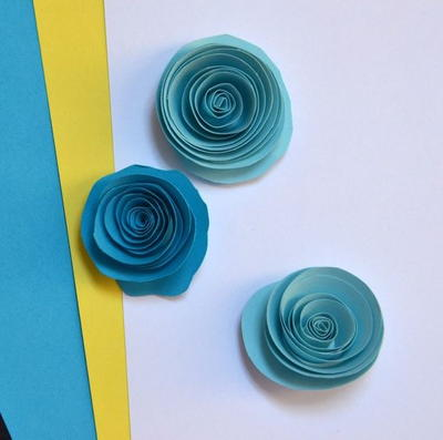 Blushing Blue Paper Quilling Roses