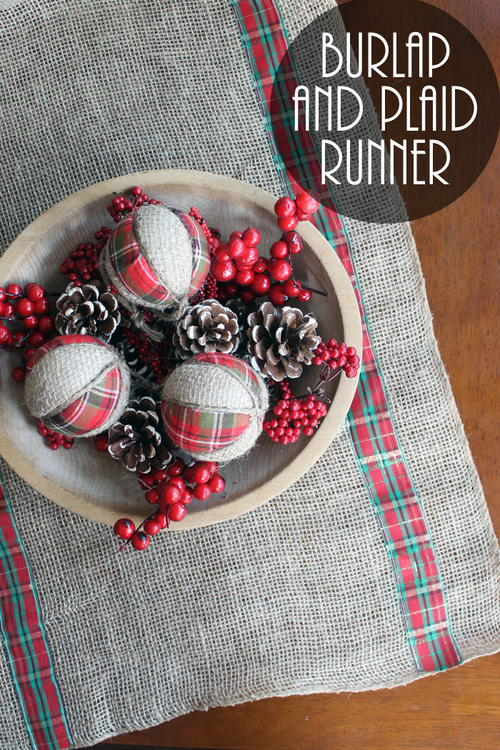 Burlap and Plaid Table Runner for Christmas