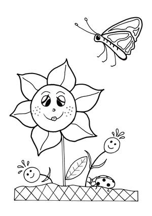 Dancing Flowers Spring Coloring Sheet