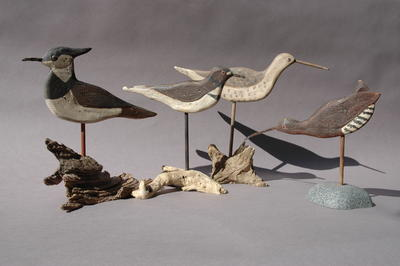 Wood Carved Vintage Silhouette Shorebirds