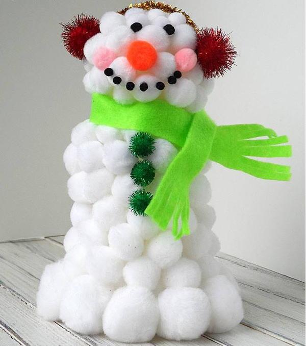 Fluffy Pom Pom Snowman Craft
