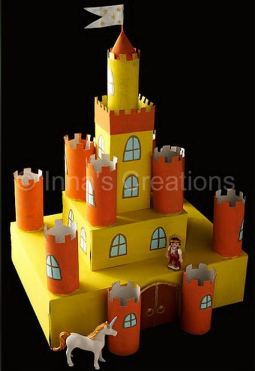Box and Toilet Paper Roll Castle