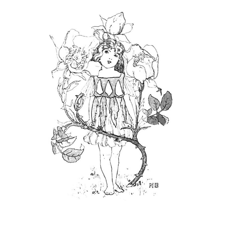 Vintage Flower Child Adult Coloring Page