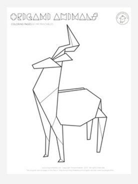 Origami Deer Coloring Page