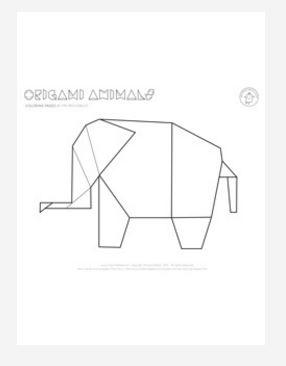 Origami Elephant Coloring Page