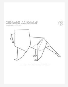 Origami Lion Coloring Page