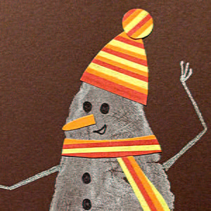 Penguin Christmas Cards Footprint.Snowman Footprint Christmas Cards Allfreepapercrafts Com
