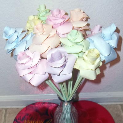 Pastel Dyed Paper Roses