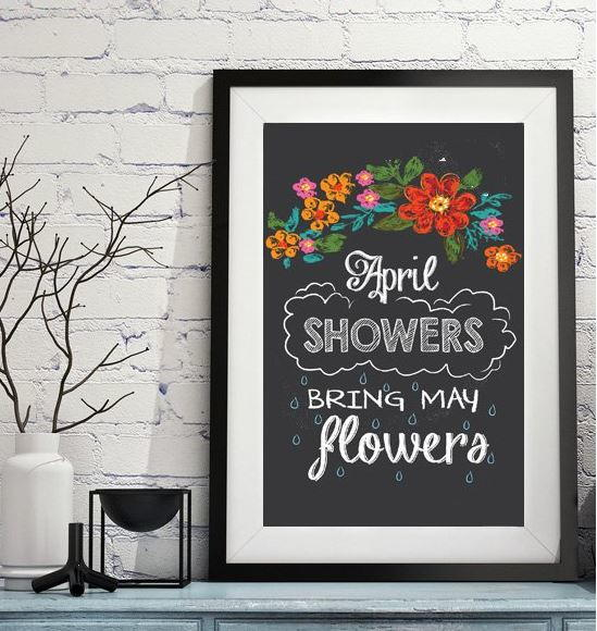 april showers printable chalkboard art