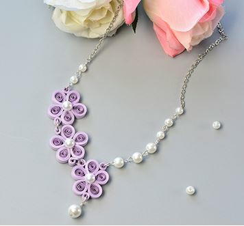 Pearled Purple Quilled Flower Necklace