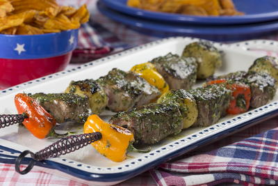 Pesto Steak Kebabs