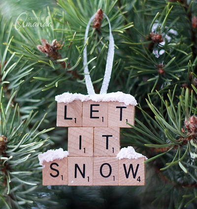 Let it Snow DIY Scrabble Tile Ornament
