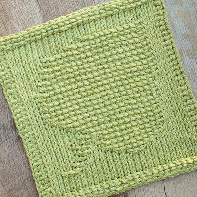 Tunisian Crochet Leaf Dishcloth