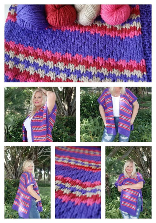Brave  Colorful Knit Ruana