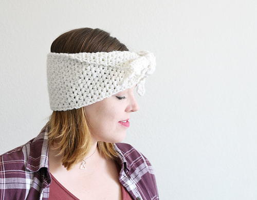 Stylish Tie-Front Crochet Headband