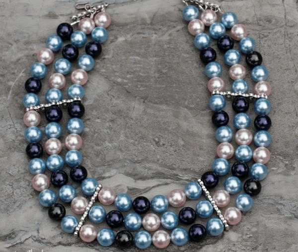 Colorful Multistrand Pearl Necklace