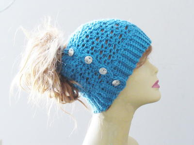 Messy Crochet Bun Hat