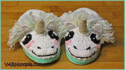 Simply Magical Unicorn Crochet Slippers