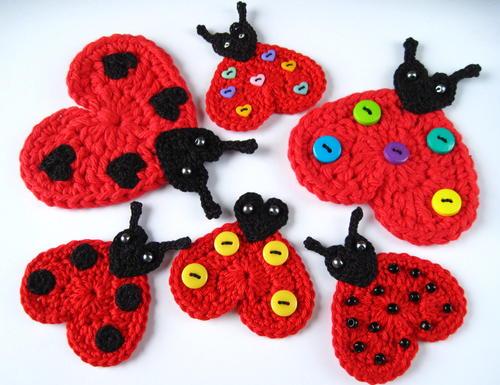 Crochet heart ladybug appliqu allfreecrochet