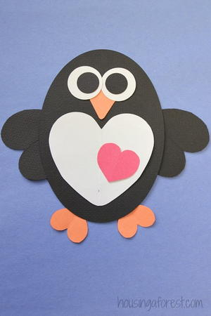 """Hearts-a-Flutter"" Penguin Craft"