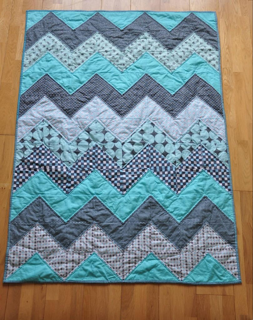 Baby Blue Chevron Quilt Tutorial | FaveQuilts.com