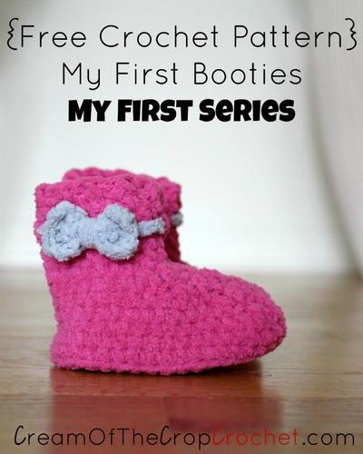 Free Crochet Pattern T Strap Booties : Baby Strap Booties AllFreeCrochet.com