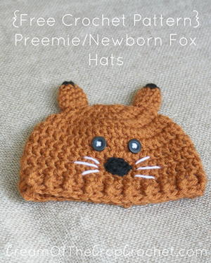 Preemie/Newborn Fox Hat