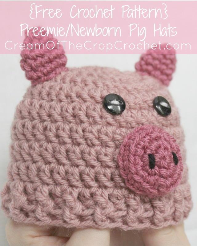 Free Crochet Baby Pig Hat Pattern : Preemie/Newborn Pig Hat AllFreeCrochet.com