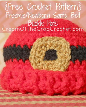 Preemie/Newborn Santa Belt Buckle Hat