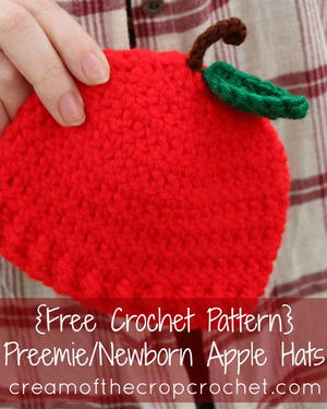 Preemie/Newborn Apple Hat