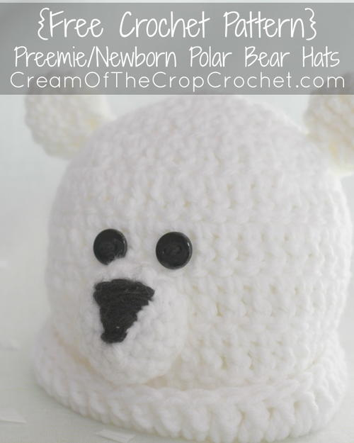 Preemie/Newborn Polar Bear Hat
