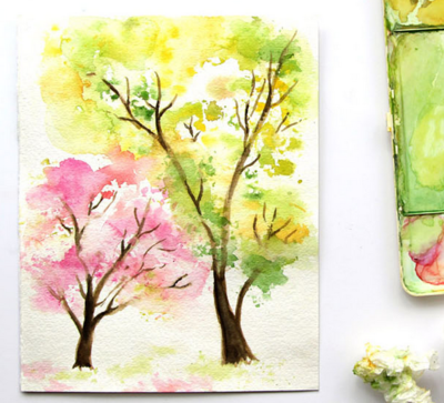 Easy Breezy Trees DIY Watercolor Painting