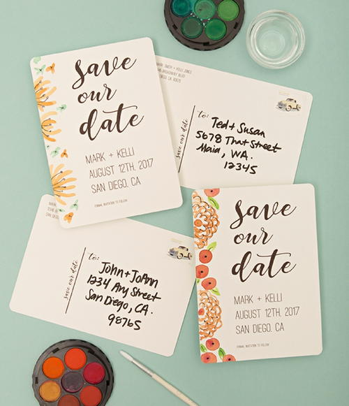 Watercolor Save the Date Postcards