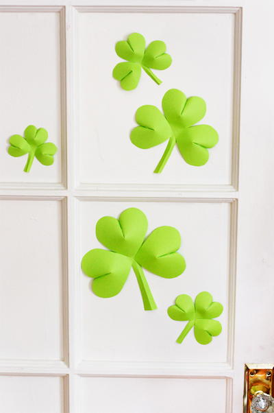 Easy Paper Shamrock Decorations