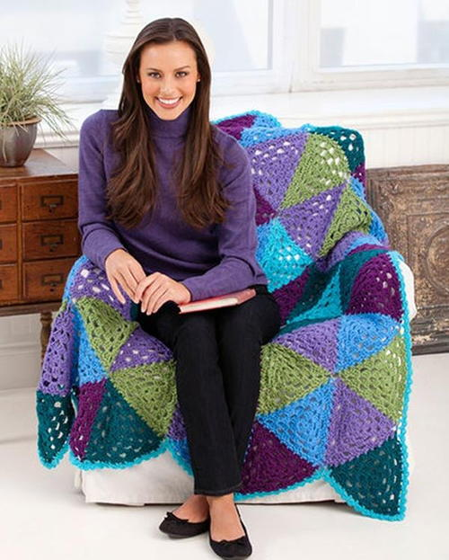 Vibrant Granny Triangle Throw