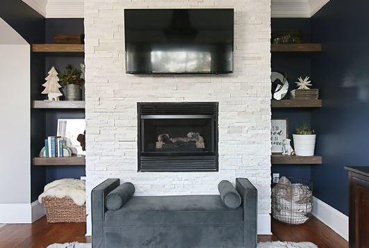 Retiling Fireplace and DIY Shelving Idea | DIYIdeaCenter.com