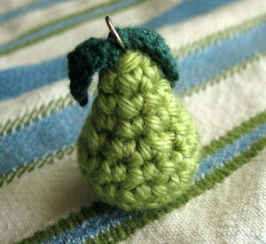 Tiny Pear Crochet Necklace Charm