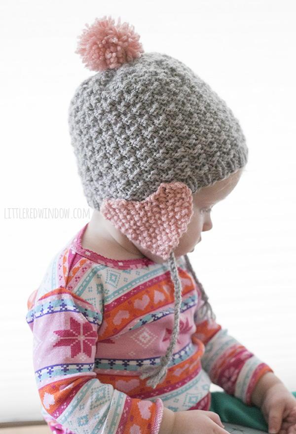 Crochet Earflap Hat Patterns For Beginners : Valentine Heart Earflap Hat AllFreeKnitting.com
