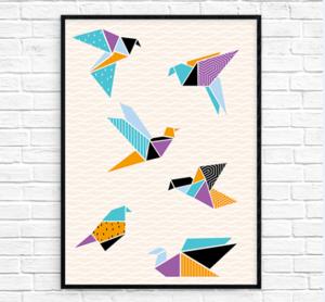 image regarding Origami Crane Instructions Printable titled Origami Cranes Printable Wall Artwork