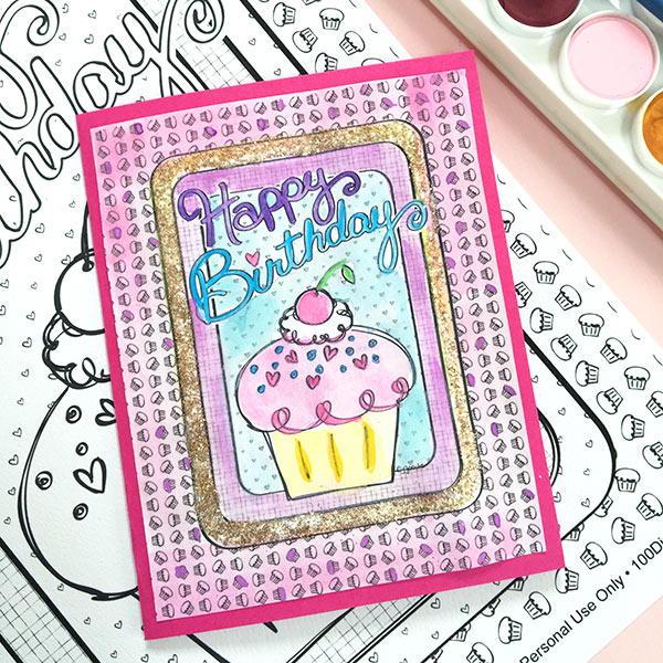 Coloring Page DIY Birthday Card