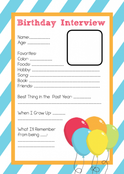Printable Birthday Interview For Kids