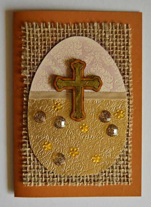 Vintage Golden Cross DIY Easter Card