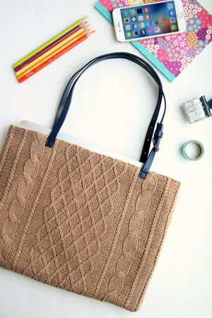 Upcycled Sweater DIY Laptop Tote