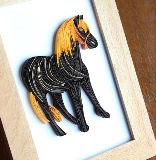 Beautiful Black Beauty Quilling Art