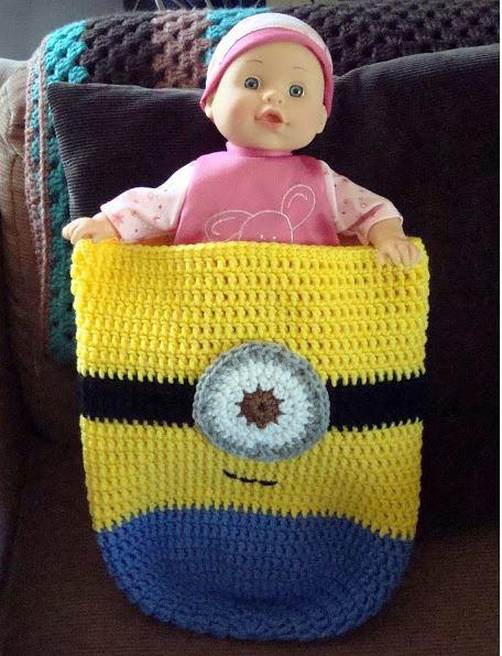 Free Knitting Pattern For Minion Blanket : Minion-Inspired Crochet Baby Cocoon AllFreeCrochetAfghanPatterns.com