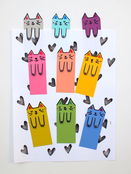 Cat Lovers Paint Chip DIY Bookmarks