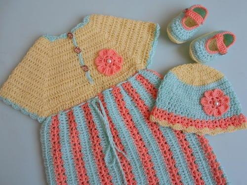 Crochet Stripe Baby Frock / Dress_1