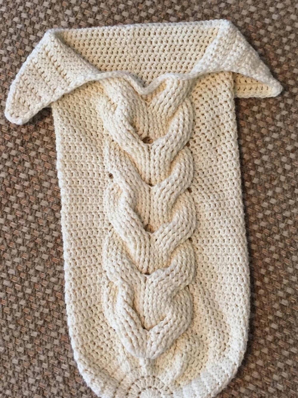 Cuddly Crochet Cable Baby Cocoon AllFreeCrochet.com